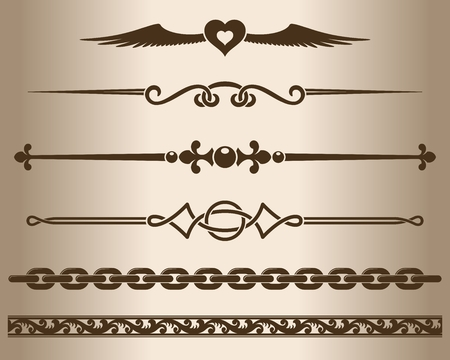 decorative design: Decorative elements. Design elements - decorative line dividers and ornaments. Graphic elements. Vector illustration. Illustration