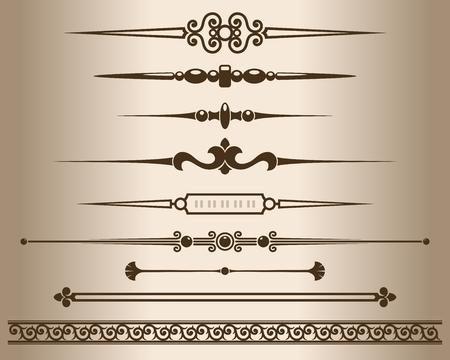 dividing lines: Decorative elements. Design elements - decorative line dividers and ornaments. Monochrome graphic element. Vector illustration.