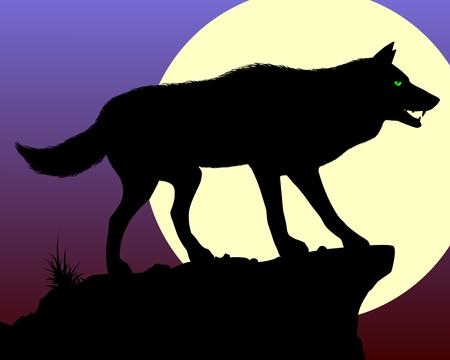 perro furioso: Lobo negro. Silueta del lobo en el fondo de la luna. Ilustraci�n del vector.