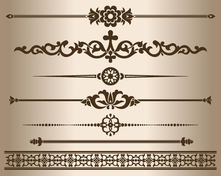 dividing: Decorative elements. Design elements - decorative line dividers and ornaments. Monochrome graphic element. Vector illustration.