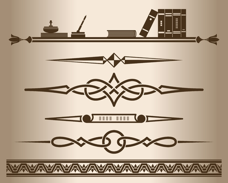 Decorative elements - books. Design elements - decorative line dividers and ornaments. Monochrome graphic element. Vector illustration. Illustration