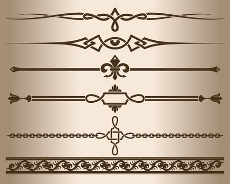 element: Decorative elements. Design elements - decorative line dividers and ornaments. Monochrome graphic element. Vector illustration.