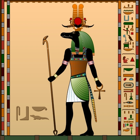 nile: Religion of Ancient Egypt. Sebek - Ancient Egyptian god of water and the flood of the Nile River. God is with the head of a Nile crocodile. Vector illustration.