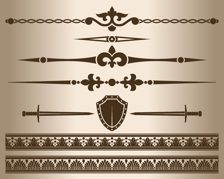 classical: Decorative elements. Design elements - decorative line dividers and ornaments. Monochrome graphic element. Vector illustration.