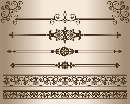 elementos: - Elementos decorativos calados. Los elementos de diseño - divisores decorativos de líneas y adornos. Monocromo elemento gráfico. ilustración. Vectores