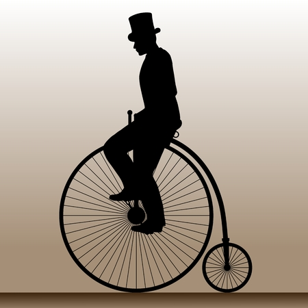 velocipede: Vintage bicycle. The man in the hat on an old bicycle. illustration.