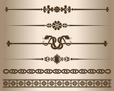 decorative lines: Decorative elements. Design elements - decorative line dividers and ornaments. Monochrome graphic element. illustration.