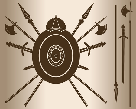 cold steel: Medieval Sword And Shield. Decorative element. Emblem - a shield with a helmet and cold steel. Vector illustration. Illustration