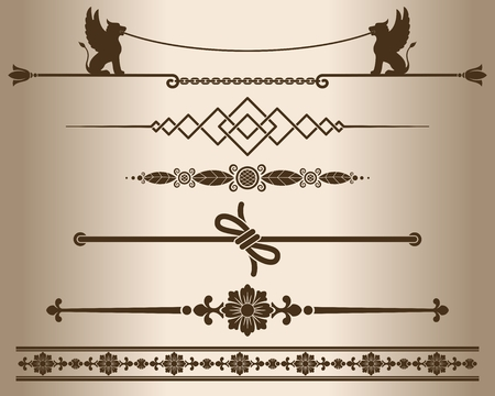 decorative line: Decorative elements - sphinx. Design elements - decorative line dividers and ornaments. Monochrome graphic element. Vector illustration.