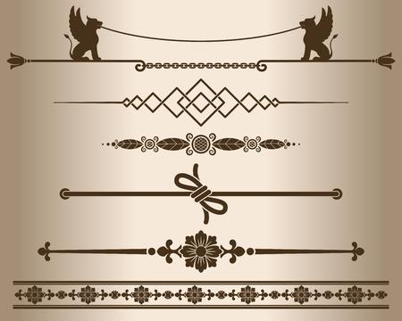elemento: Elementi decorativi - sfinge. Elementi di design - divisori linea decorativa e ornamenti. Monocromatico elemento grafico. Illustrazione vettoriale. Vettoriali
