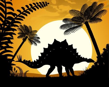 stegosaurus: Dinosaur Stegosaurus. Stegosaurus silhouette on sunset background. Vector illustration.