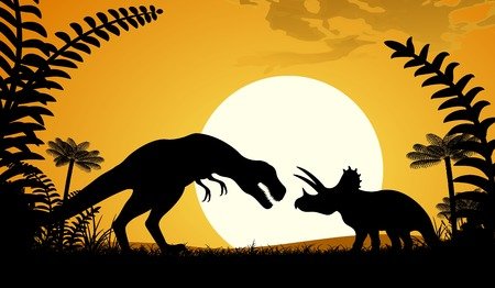 triceratops: Silhouettes of dinosaurs. Tyrannosaurus and Triceratops on sunset background. Vector illustration. Illustration