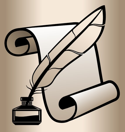 inkwell: Handwritten accessories. The feather in the inkwell on a background of the scroll. Vector illustration. Illustration