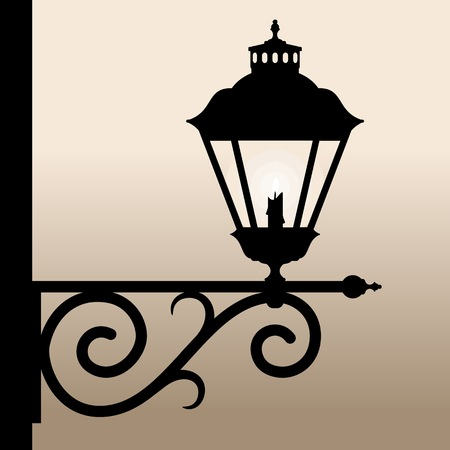 lamplight: Vintage lantern. Silhouette of an old lantern with a candle. Vector illustration. Illustration