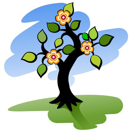 Blooming tree. Green tree with flowers. Vector illustration. Illustration