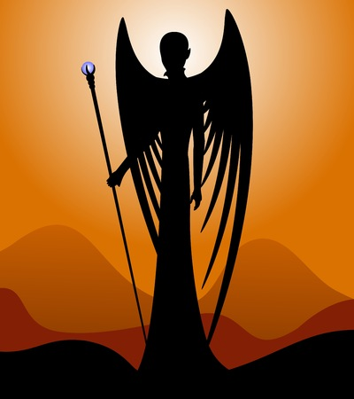 occult: Silhouette of an angel. The black silhouette of a winged angel on sunset background. Vector illustration.