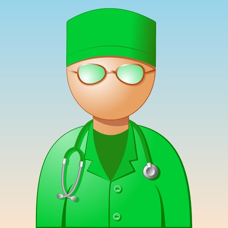 medic: Icon - a medic. A doctor in a green dress with a stethoscope. Vector illustration. Illustration