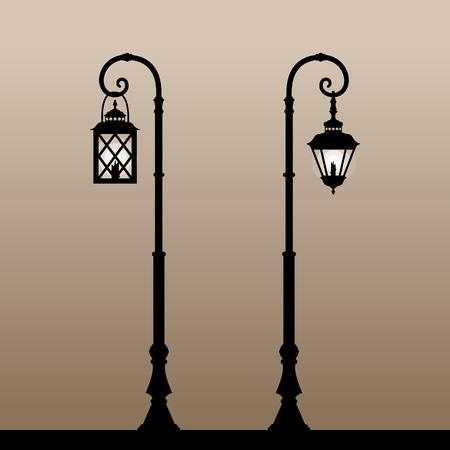 lamplight: Vintage lanterns. Silhouette of an old lantern with a candle. Vector illustration.