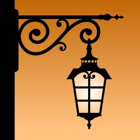 streetlamp: Vintage lantern. The black silhouette of a retro lantern. Vector illustration.