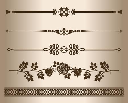 Decorative lines. Design elements - decorative line dividers and ornaments. Monochrome graphic element. Vector illustration.