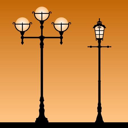 Vintage street light. Black silhouettes of the retro lanterns. Vector illustration.