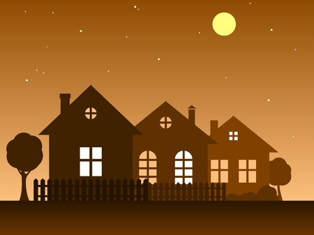 Vector illustration of home. Vector silhouettes of houses. Country Cottage.