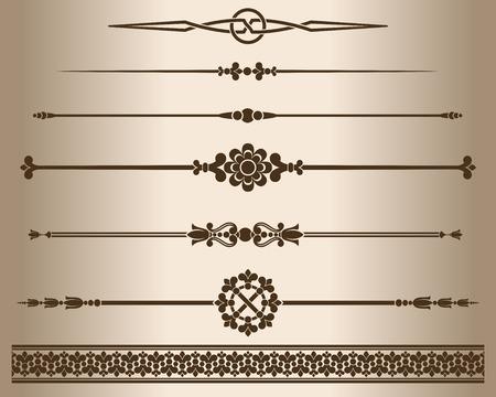 Decorative elements. Design elements - decorative line dividers and ornaments. Illustration.