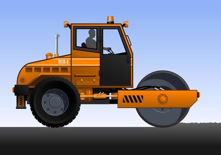 Illustration of road roller. Orange road roller with the driver. Road works. Illustration