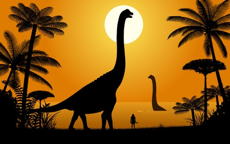Silhouettes of dinosaurs. Two Abydosaurus on sunset background. Illustration.