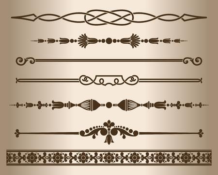 lineas decorativas: líneas decorativas. Elementos para el diseño - divisores de línea de decoración. Ilustración del vector.