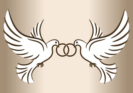 Two doves. Stylized pigeons and wedding rings. Vector illustration. Vettoriali
