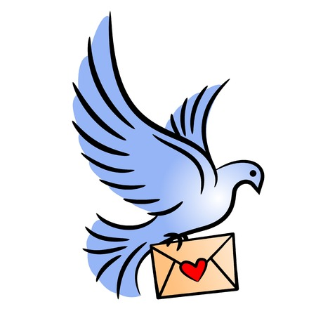 Post pigeon. Stylized carrier pigeon with an envelope. Vector illustration.