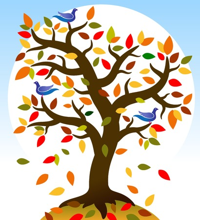 Colored tree. Vivid autumn tree on which sit the birds. Vector illustration.