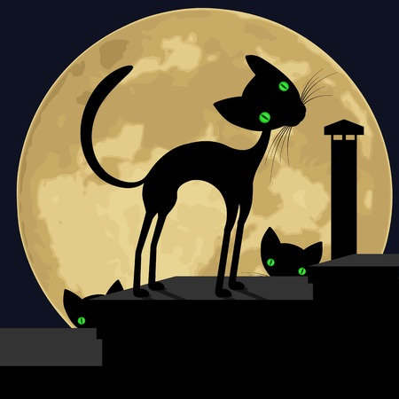 homelessness: Black cat on the roof. Silhouette of a cats on the roof, on a background of the moon. Vector illustration.