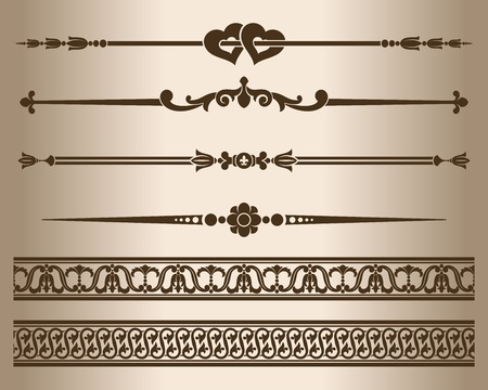 Decorative elements. Design elements - decorative line dividers and ornaments. Vector illustration. Illustration