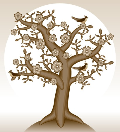 Blooming tree. Tree with flowers. Birds on the tree. Vector illustration.