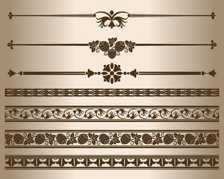 Elementos decorativos. Los elementos de diseño - divisores decorativos de líneas y adornos. Ilustración del vector.