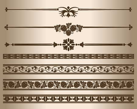 Decorative elements. Design elements - decorative line dividers and ornaments. Vector illustration. Illustration