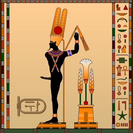 Religion of Ancient Egypt. Min is the god of fertility, trade and rain. Ancient Egyptian god in the guise of a man with an erect penis. Vector illustration.