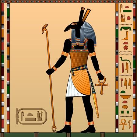 La religión del antiguo Egipto. Seth es el dios de la guerra, las tormentas de arena, el guardián del dios Ra. Antiguo dios egipcio Seth bajo la apariencia de un hombre.