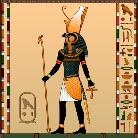Religion of Ancient Egypt.  Ancient Egyptian god Horus in the guise of a man with a falcon head. Vector illustration.