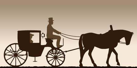 キャリッジのシルエット。馭者と運送のシルエット。四輪キャリッジ。ベクトルの図。
