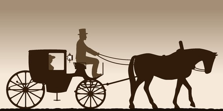 Silhouette of a carriage. Silhouette of a carriage with the coachman. Four-wheel carriage. Vector illustration. Ilustrace