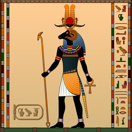 Religion of Ancient Egypt. Khnum is the God of creation, the god of water and the evening sun. Иллюстрация