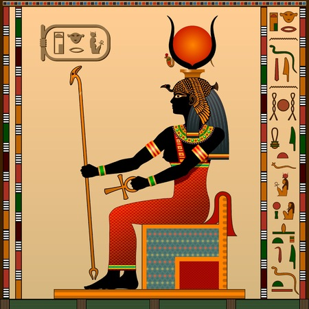 Religion of Ancient Egypt. Hathor is the goddess of love, heaven, beauty and art. Ancient Egyptian goddess Hathor in the guise of a woman on the throne. Vector illustration.