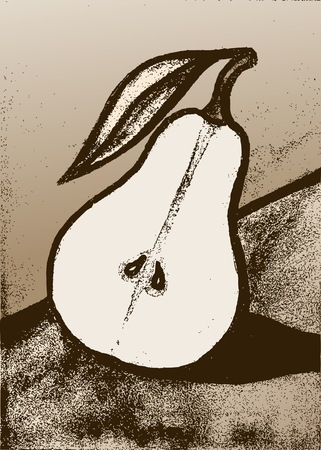 Pear. Illustration of a pear fruit. Pear in the cut. Imagens