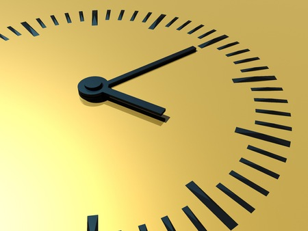 Clock. A clock with a gold background. The symbol of time. 3d illustration.