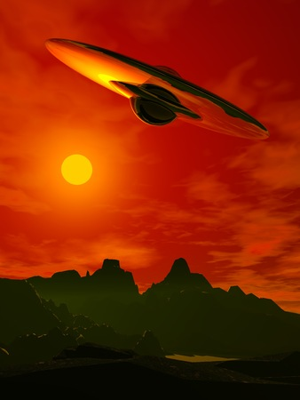 ufology: Alien invasion. Flying saucer in the sky. A spaceship of aliens. Stock Photo