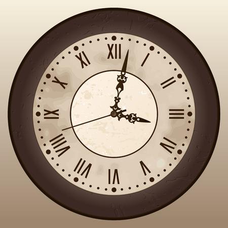 Antique clock. A vintage watch with Roman numerals. Vector illustration. Ilustração