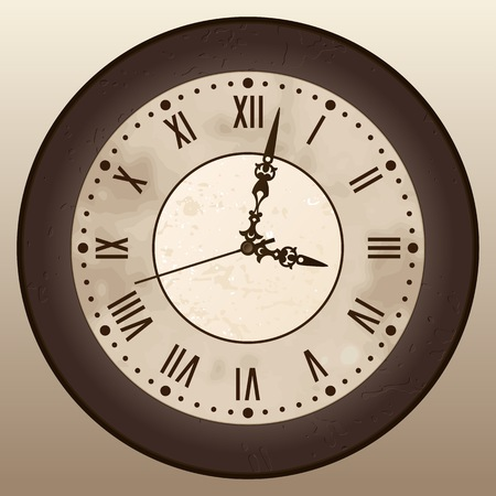 Antique clock. A vintage watch with Roman numerals. Vector illustration. Illustration